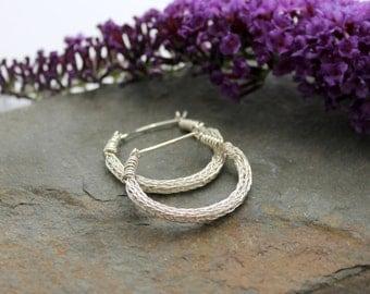 Viking knit Hoop earrings - Sterling Silver wire hoop earrings