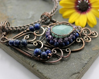 Peacock feather Necklace - Amethyst, Amazonite, Lapis Lazuli and Copper wire wrapped pendant with viking knit chain