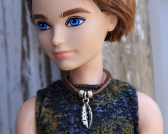 Feather Tribal Leather Cord Necklace Doll Jewelry for Boy Guy Petite Slimline & 1/6th Scale Male Fashion Dolls
