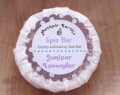 Juniper Lavender Spa Bar. Made with Salt. Handmade Soap. All Natural. Spa Bar. Exfoliating.