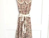 Altered and upcycled tea stained flower print spring summer dress small