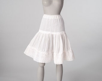 Vintage Victorian Embroidered Petticoat, White Cotton Eyelet Embroidered Skirt, Pintuck & Ruffles, Women's Clothing, Skirts