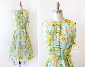 vintage 60s floral dress, 1960s ruffled bib floral print dress, aqua yellow small sundress