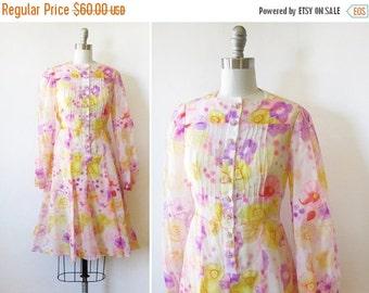 50% OFF SALE 60s floral dress, vintage 1960s pink and yellow floral dress, floral chiffon dress