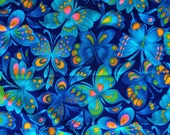 Wonderful Vintage Blue Butterfly Curtains Retro Fabric 60's 70's 1 Pair