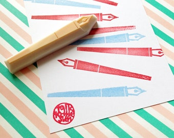pen hand carved rubber stamp. calligraphy dip pen stamp. writing stationery. back to school. gift wrapping. card making. snail mail crafts