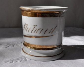 Antique Porcelain Shaving Mug/Vintage c. 1900/Personalized H. G. Fleetwood/Unique Office Decor/Father's Day Gift