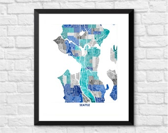 Seattle Map Print.  Choose your Colors and Size.  Washington State Housewarming Gift.  Perfect for your favorite Seahawk, Mariner or Husky.
