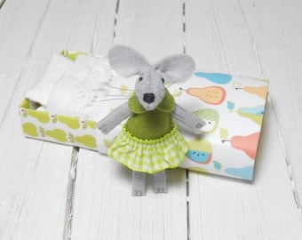 Stuffed animal plushie small felt animals  mouse in a matchbox needle felted mouse pears lime green Waldorf