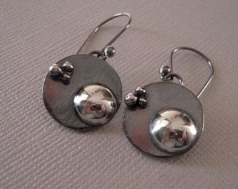 Sterling Silver Earrings, Hand Forged, Hand Made Earrings, Oxidized Domed Round Drop Earrings, OOAK,925