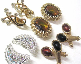 50s Vintage Emmons Earrings Lot 4 pair Signed Jewelry, Rhinestone, AB Iridescent, Topaz Jewel, Brown Cab Cone, Collectible Designer Variety