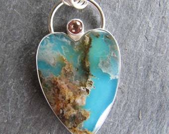 Regency Plume Agate Heart Pendant with Sapphire in Sterling Silver