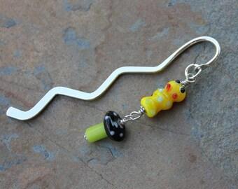 Caterpillar & Mushroom Bookmark - lampwork glass- yellow caterpillar, green and black mushroom - gift for readers - free shipping USA