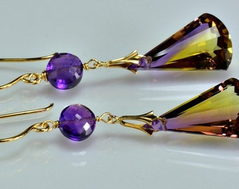 Ametrine Dangle Gemstone Earrings 14k Gold Filled Gemstone Ametrine Wire Wrapped Earrings