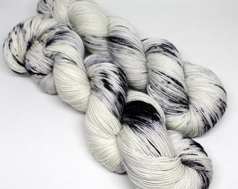 Hand Dyed Speckled Sock Yarn - SW Sock 80/20 - Superwash Merino Nylon - 400 yards - Newsprint