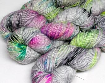 Hand Dyed  Speckled Sock Yarn - SW Sock 80/20 - Superwash Merino Nylon - 400 yards  - Ain't No Disco