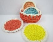 Crochet Coasters with holder, kitchen housewarming gift, Drink coasters, Salmon Mint Green Peach Yellow White, Ready to Ship, Gifts under 10