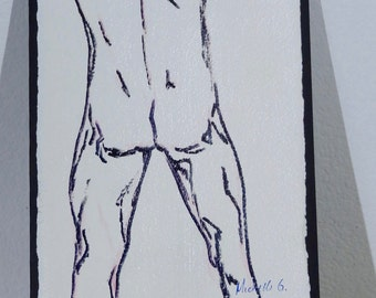 Original Fine Art Sketch - Sensual Male Nude Back, Gay, Artwork