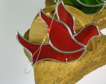 Red Stained glass Dove of Peace suncatcher christmas ornament window decoration