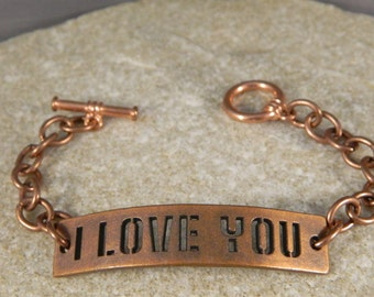 I Love You Copper Metal Bracelet