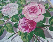 Vintage Roses Barkcloth Pillow Cover
