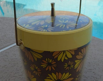 Vintage West Bend Ice Bucket Flower Power Yellow and Orange