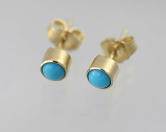 Turquoise Drop Studs, Lrg. in 14KY Gold