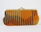 Eyeglass frame purse - Step in caramel brown - Long purse / Eyeglass fabric case / Cell phone holder / Maroon turquoise blue