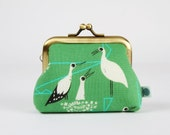 Metal frame change purse - Stork nest in green - Big mum / japanese fabric / Cotton and Steel / Wattsalot / birds / black and white