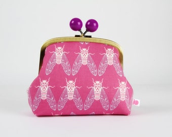 Metal frame clutch bag - Cicadas in dark plum - Color bobble purse /  Japanese fabric / Cotton and Steel / Rashida Coleman Hale / blue