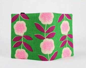 Big fabric card holder - Neon pink flowers on green / 40 slots / Japanese fabric / Purple