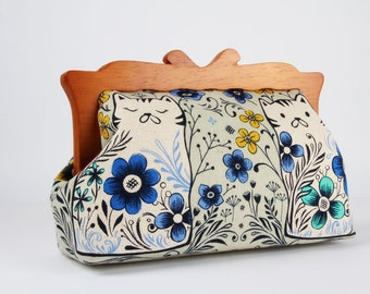 Clutch purse with wooden frame - Pennie in grey - Home purse / Cotton and Steel / Sarah Watts / Folk cats and flowers / blue yellow mint