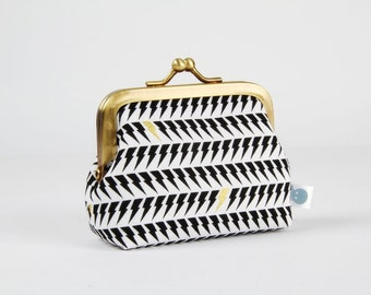 Metal frame change purse - Static age in white and metallic gold - Deep mum / Libs Eliott / Modern graphic design