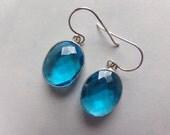 Swiss Blue Topaz Sterling Earrings. 22 x 16 mm Stones