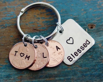 Family Penny Keychain,Blessed Keychain,Family Initials,Childrens Initals,Child Birth Year,Wedding Year,Hand Stamped,Mom Gift,Wife Valentines