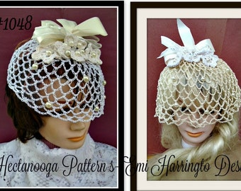 BIRDCAGE bridal veil, diy  Fascinator CROCHET PATTERN -  any length, flower and veil instructions included,  wedding accessories, diy, #1048