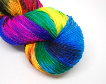 "Hardcore Sock Yarn - ""Aint it Fun!"" - Handpainted Superwash Merino - 463 Yards"