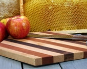 Hexagon Striped Cutting Board or Serving Platter  maple, cherry, and black walnut hardwood with FREE wood conditioner