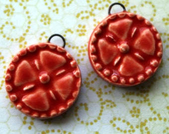 2pc. Orangy-Red Cross with Dotted Edge - Ceramic Charms