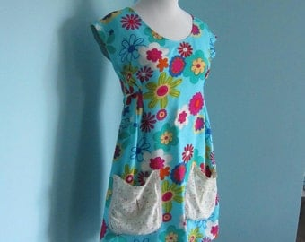 Simple Floral Print Boho Summer Tie Back Tunic Frock