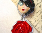 Red Rose Necklace Handmade Pretty Moon face Necklace serenity goddess Original One of a kind Art to Wear Bold with rose