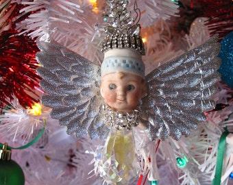 Vintage Christmas Ornament Assemblage art doll Angel mixed media encrusted rhinestones Bisque doll ART Christmas crystal original art ooak