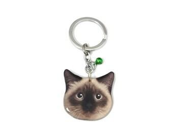 Redish Brown Birman cat kitten head keychain - A0015-K C08 Made to Order