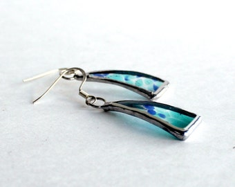 OOAK Stained Glass Jewelry Earrings - Blue and Aqua Drops