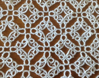 White Tatted Doily, Celtic Knots, Frameable, Shamrocks, Square or Diamond Shaped