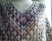 Womens Poncho in Shades of Cream Fawn and Brown ( Ready to ship )