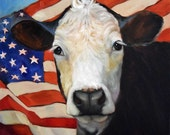 20x20 Canvas Giclee Print, Ms Independence, Free S&H, From Original Cow Painting by Cheri Wollenberg