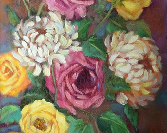 Floral Still Life Oil Painting,Mixed Bouquet Mixed Flowers,Original Canvas Art by Cheri Wollenberg