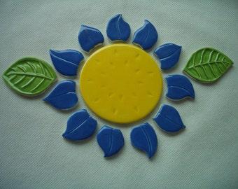 P14 - GORGEOUS 14 Pc Deep Blue FLOWER, Leaves  - Ceramic Mosaic Tiles