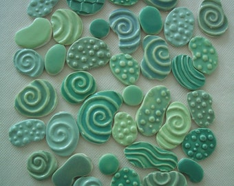 RR38 - 38 pc GORGEOUS Stamped Circles - Ceramic Mosaic Tile Set